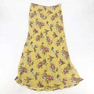Know One Cares Floral Print Midi Skirt L